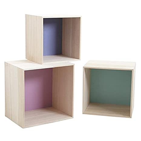Mensole Colorate In Legno.Aubry Gaspard Serie Di 3 Mensole A Forma Di Cubo In Legno Colorate