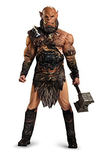 Deluxe Latex Orc Mask (Disguise Men's Warcraft Orgrim Deluxe Muscle Costume, Multi, X-Large)
