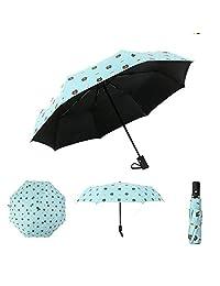 Paraguas plegable de secado rápido, paraguas de viaje automático de cierre abierto con paraguas plegables anti revestimiento UV 38 pulgadas (Azul)