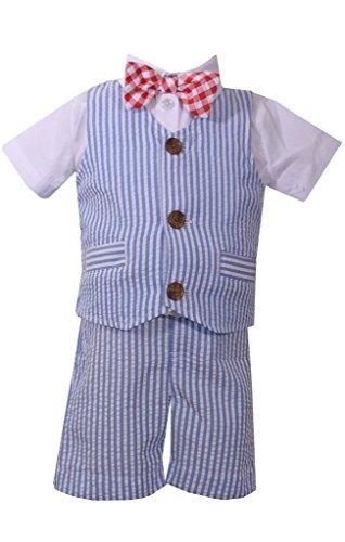 Bonnie Jean Baby Boys Seersucker Americana USA Stripe Vest Short Se - Jeans Gingham Bonnie Jean