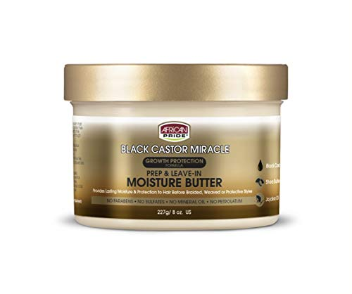 African Pride Black Castor Miracle Prep & Leave-In Moisture Butter - Provides Lasting Moisture & Protection to Hair, Contains Black Castor Oil, Shea Butter and Jojoba Oil, 8 oz