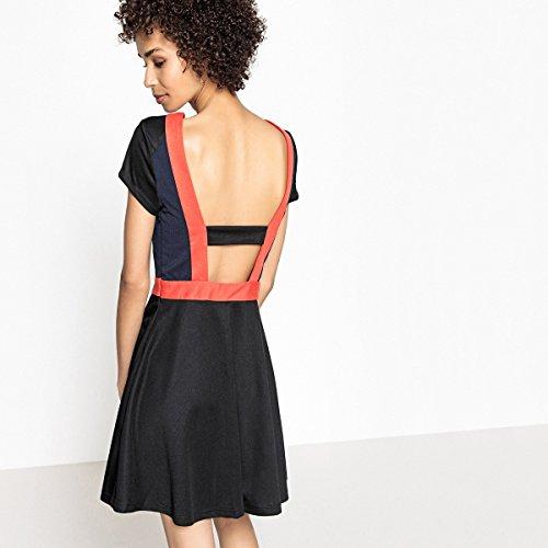 Mademoiselle Schwarz Kleid Frau R Alinie La Rot Colourblockingstil Redoute wIa0Oq5