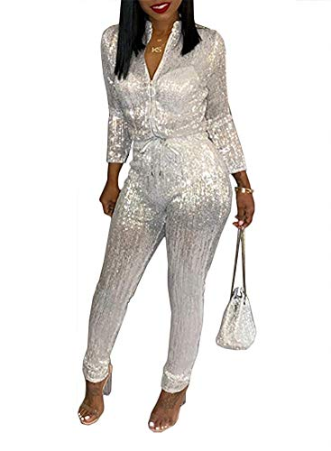 ECHOINE Womens Sexy Sequin Metallic Zipper Bodycon Long Pants Jumpsuit Club Outfit -