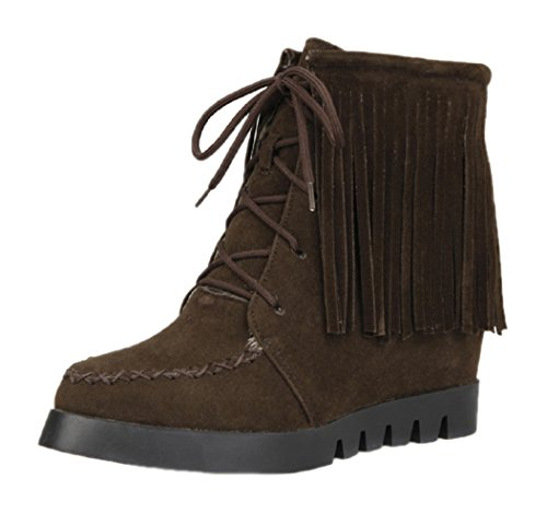 HooH Women's Flannel Tassel Height Increasing Boots 8-81 Brown
