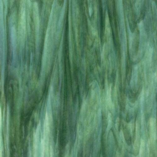 Bullseye COE 90 Mint Forest Green Streaky Color Mix Fusible Glass Sheet