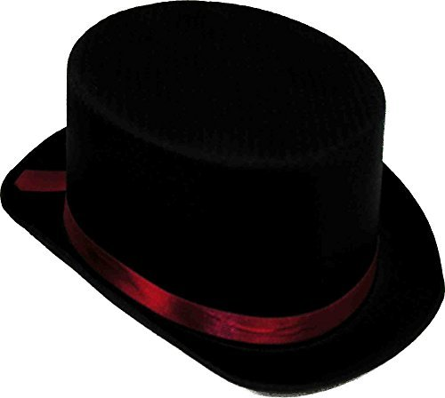 Satin Black Top Hat with Red Band -