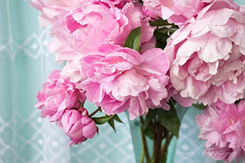 (Pink Peony Photographic Print Unframed Floral Bedroom Bathroom Wall Art Gift for Women Flower Bouquet Photography Teal Feminine Home Decor 5x7 8x10 8x12 11x14 12x18 16x20 16x24 20x30 24x36)