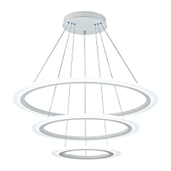 Interior Lighting Royal Pearl Modern 3-Ring LED Chandelier Dimmable Contemporary Ceiling Light LED Pendant Lighting for Dinning Room… modern ceiling light fixtures