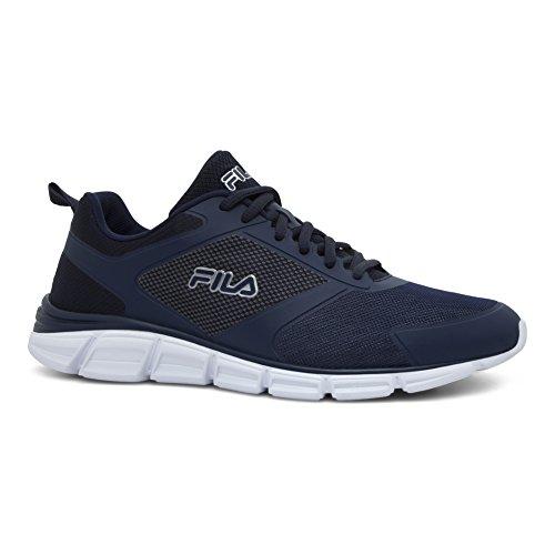 Fila Mens Memory Windstar EVO Running Shoe Fila Navy, Metallic Silver, White