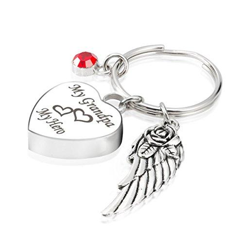(Engraved PerGrandPaalised My GrandPa My Hero Cremation Urn Jewelry Keychain Memorial Ash Keepsake July Ruby Birthstone Angel Wings Charms Pendant)