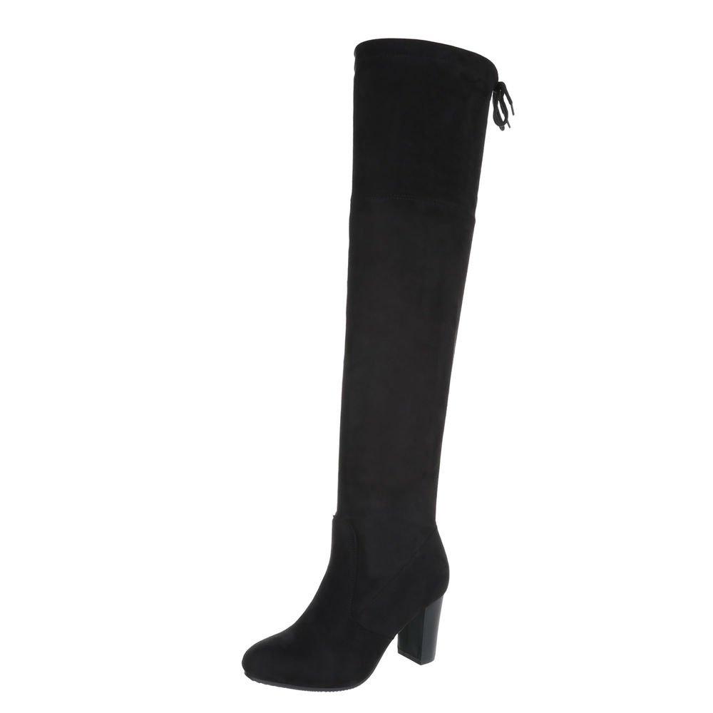 Ital-Design Overknees Damenschuhe Overknees Pump High Heels Stiefel  36 EU|Schwarz