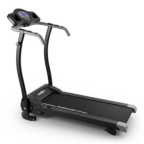 Klarfit Pacemaker X3 elektrisches Laufband mit LCD-Display Laufband-Heimtrainer elektrisch mit Trainingscomputer (Indoor-Workout, 12 km/h, Pulsmesser, bodenschonend) schwarz