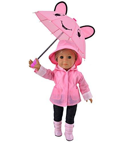 Ebuddy 6pc/Set Rain Coat Set Doll Clothes for 18 inch American Girl Includes Rain Jacket, Umbrella, Boots, Hat, - Inch Set 18 Coat Doll