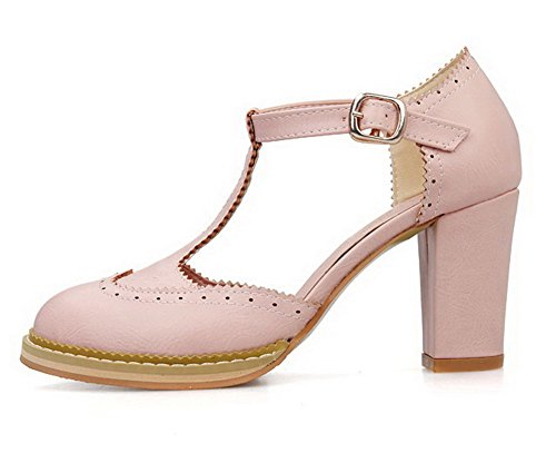 VogueZone009 Women's PU Solid Buckle Round Closed Toe High-Heels Pumps-Shoes Pink WW0xv3X