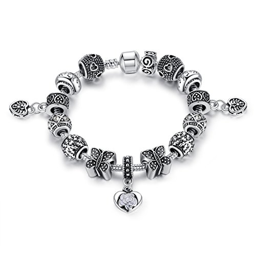 Presentski Silver Plate Charm Bracelet Birthday Gift for Beloved Ones (1 Plate Girl 1)