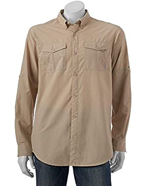 Cedar Peak Performance Button-Down Shirt, Khaki, Medium