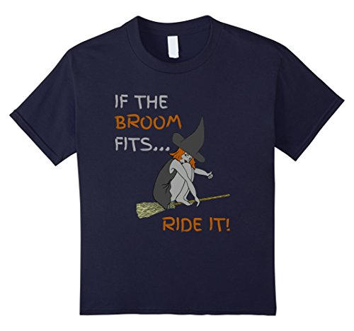 Kids If The Broom Fits, Ride It! Witches T-shirt 6 (Naughty School Girl Zombie Costume)