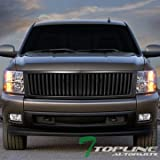 Topline Autopart Matte Black Vertical Billet Front Hood Bumper Grill Grille Cover Conversion 07-13 Chevy Silverado 1500