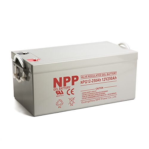 NPP 12V 250 Amp NPG12 250Ah Rechargeable Gel Deep Cycle Battery With Button Style Terminals by NPP