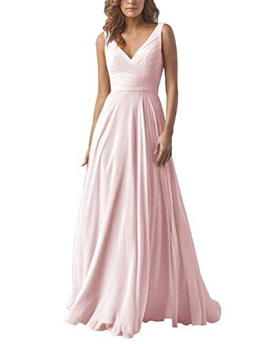 Yilis Double V Neck Elegant Long Bridesmaid Dress Chiffon Wedding Evening Dress Pink US6