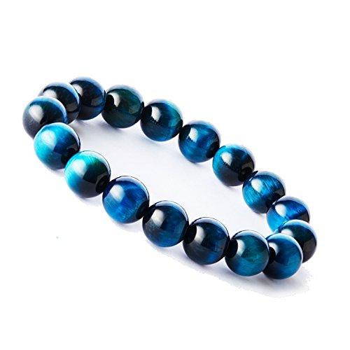 Tigerstar Handmade Gemstone Beaded Stretch Tiger Eye Bracelet, Precious 12mm Round Beads Bracelet Yoga Energy Healing Stone Wrist Bracelet for Men and Women(Sky Blue)
