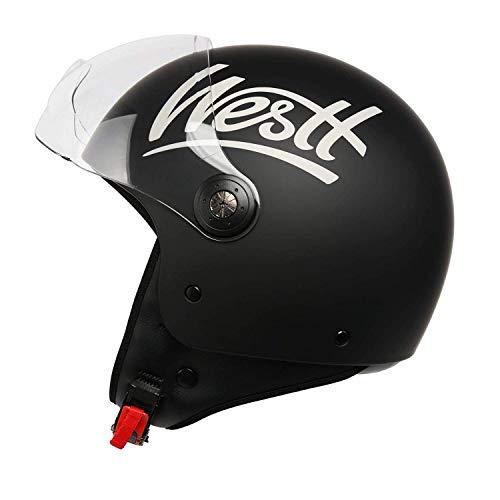 Westt Classic Motorcycle Jethelm, open, licht en robuust, mat zwart, ECE-gecertificeerd, L (58 cm)