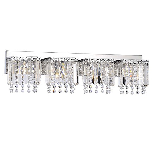 Evelyn 4-light Chrome Finish Crystal Strand Wall Sconce - Chrome Finish Four