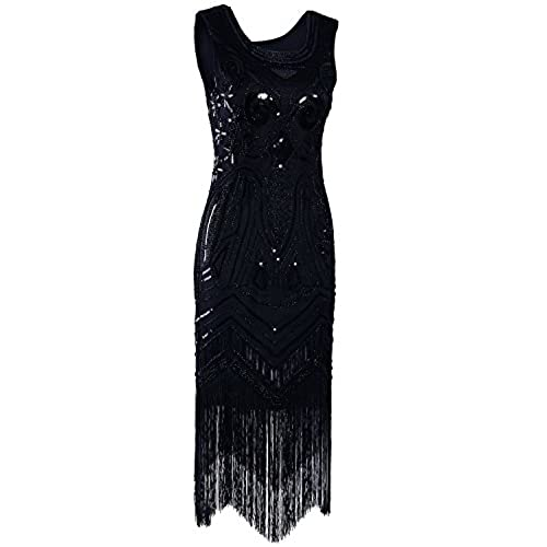 Vijiv Long Prom 1920s Vintage Gatsby Bead Sequin Art Nouveau Deco Flapper Dress PURE BLACK XL