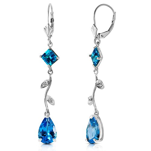 3.97 Carat 14K Solid White Gold Chandelier Earrings Natural Diamond Blue Topaz (14k Diamond Chandelier Earrings)