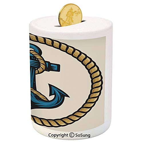 (SoSung Anchor Ceramic Piggy Bank,Sailor Design with Circular Rope and Anchor Antique Maritime Nautical Decorative 3D Printed Ceramic Coin Bank Money Box for Kids & Adults,Pale Coffee Blue Cream)