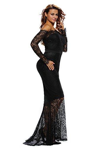 Mujer Manga Sleekwear Larga Vestido Negro Para Noche 1n7TwBq7X