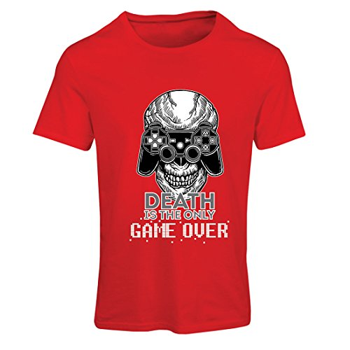lepni.me T Shirts For Women Game Over Cool Skull Face Gamer, Gaming Skeleton, Funny Game Quotes (Large Red Multi Color)