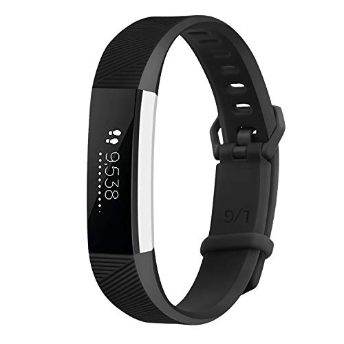 AK band33-c Band Replacement Wristband Strap with Secure Metal Buckle for Fitbit Alta/Fitbit Alta HR, Black, Large