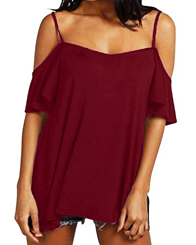 (ZANZEA Womens Off The Shoulder Plus Size Top Sexy Short Sleeve Summer T Shirt Cold Shoulder Halter Tees Wine Red 16)