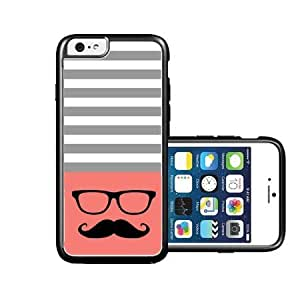 RCGrafix Brand Hipster-mustache coral & Grey Stripes Black iPhone 6 Case - Fits NEW Apple iPhone 6