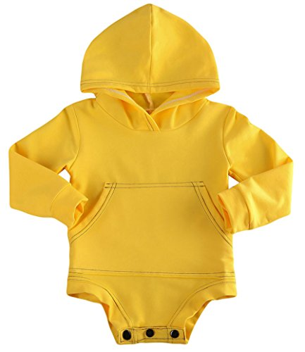 Toddler Unisex Baby Hooded Sweatshirt Top Newborn Romper Outfits For Autumn Winter (3-6 Months, Yellow)