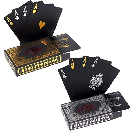 2 x Playing cards black Waterproof Poker Cards PVC Plastic Playing Cards Professional Premium Playing Cards for Texas Holdem Poker - 1 Gold & 1 Silver by hopewey