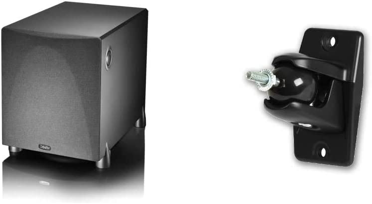 Definitive Technology ProSub 800 - High Output Compact 300W Powered Subwoofer   Heart-thumping Sound for Home Theater System   (Single, Black) & VEPC Pro-Mount 90 - Pair (Black)