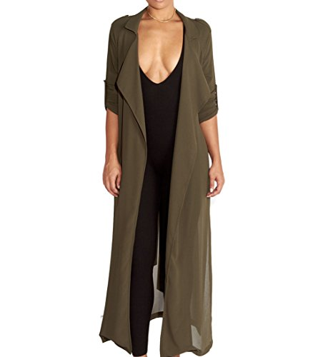 Dreamsoar Womens Long Sleeve Fashion Chiffon Lightweight Maxi Sheer Duster Cardigans GREN ()