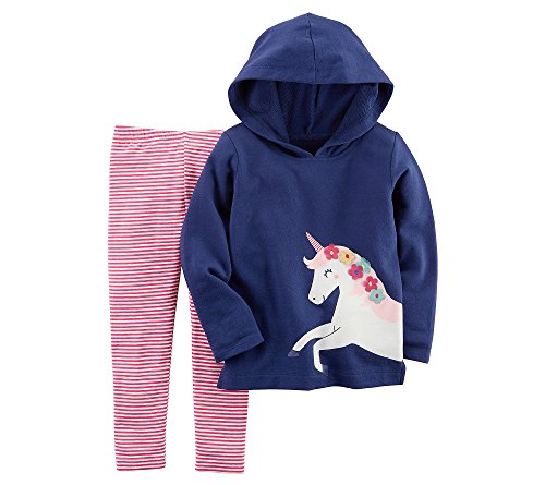 (Carter's Baby Girls' French Terry Unicorn Hoodie and Striped Leggings Set 6 Months)