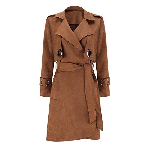 Women Overcoat Winter Autumn Outwear Brown Fuibo Parka Coat Coat Windbreaker Suede Jacket 4dqaxHv