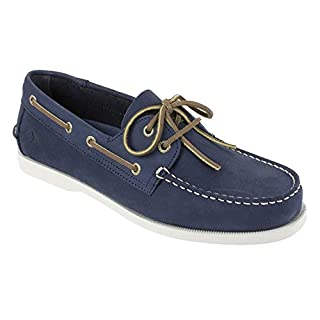 RUGGED SHARK Men's Classic Boat Shoes, Genuine Leather with Odor Control Technology, Navy Blue, Men's Size 11.5