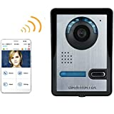 Wireless WIFI Video Door Phone Indoor Monitor Clear Night Vision Waterproof Outdoor Camera with Rain Cover Intercom System HD 720P Doorbell + support P2P Android/iOS APP Snapshot Unlock