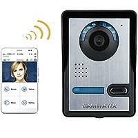 Wireless WIFI Video Door Phone Indoor Monitor Clear Night Vision Waterproof Outdoor Camera with Rain Cover Intercom System HD 720P Doorbell + support P2P Android/iOS APP Snapshot Unlock