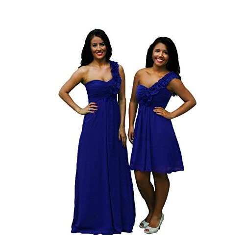 Bridesmaid Wedding Evening Party Prom Dress Chiffon 1 Shoulder Ruffle Floor Length & Short Length