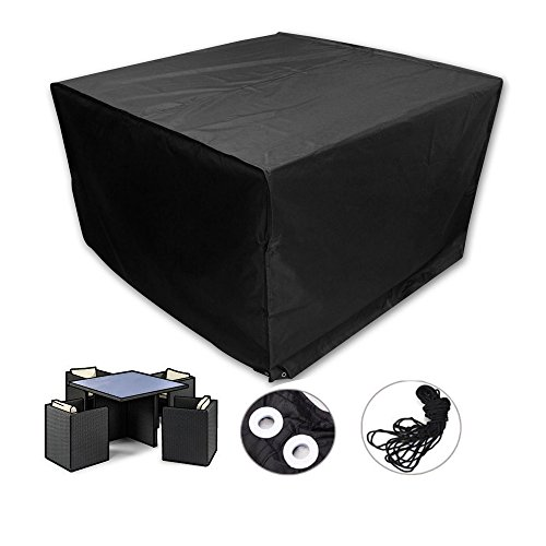 easehold patio furniture cover square rattan wicker table and chair set cover waterproof for outdoor garden black furniture covers