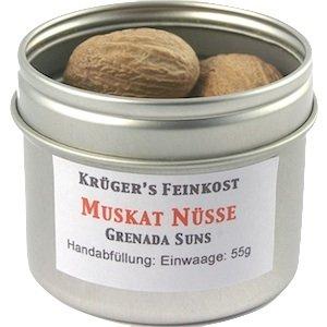 Krüger's Feinkost Muskatnüsse 1A Grenada Suns / ganz - 55g / 10 Stück - 80/85er