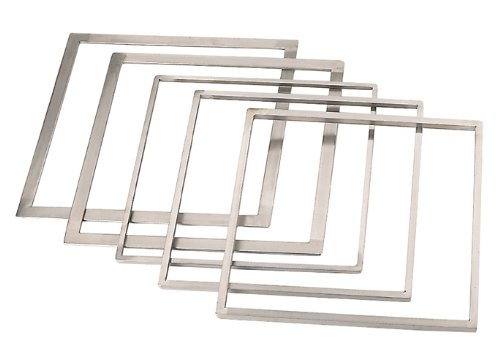 DeBuyer Square Stainless Steel Frame (1 Each) for Ganache or Chocolate (13.27'' Inside, 14.10'' Outside, 0.39'' High)