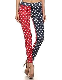Patriotic American Flag Star Spangled Jeggings Pant Leggings, Red White Blue