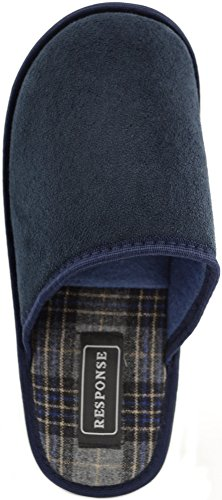 Soft Suede with Response Indoor Inner Navy Slipper Mule Tartan Gents Shoes Mens 4wE5qHE